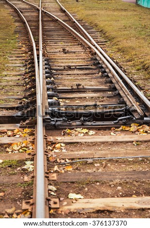 Line of railway crossing in rural. Shallow depth of field - stock photo