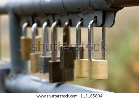Line of security locks - stock photo