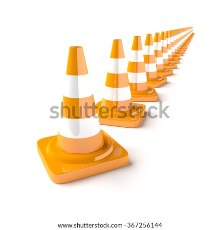 Line of traffic cones on the white background. 3D rendered cone. - stock photo