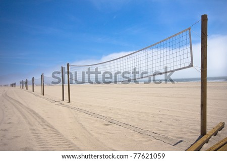 Line of volleyball nets along the beach on Long Island NY - stock photo