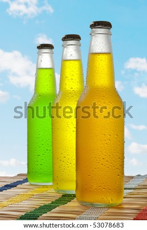 Line of wet glass beverages - stock photo