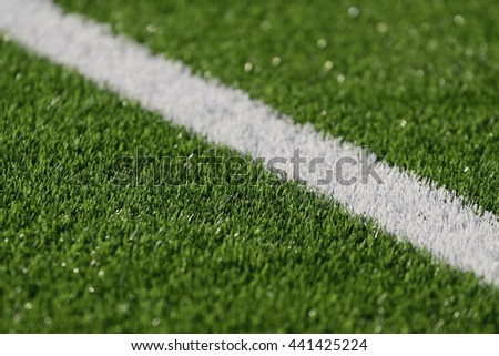 Line on soccer field green grass. Abstract texture. - stock photo