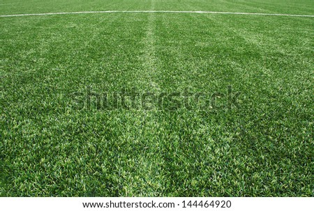 line on the Green Grass Texture in Soccer Field - stock photo