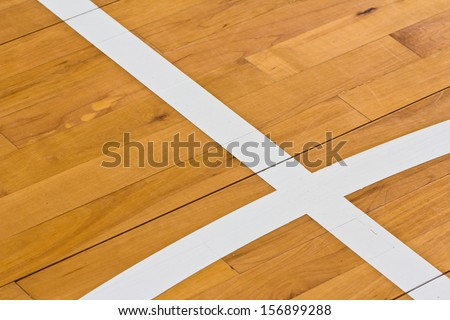 line on wooden floor basketball court - stock photo