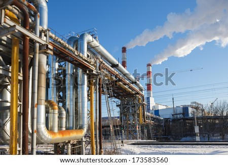 line pipes for heating the city - stock photo