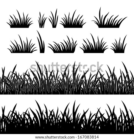 Line seamless and set of grass, element for design, black silhouette isolated on white background.