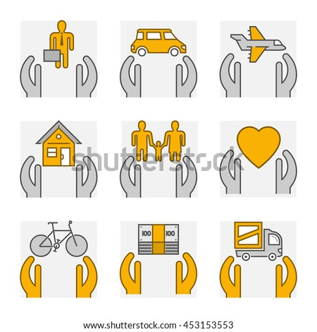 Line set icons of insurance. Outline insurance cars and home insurance.