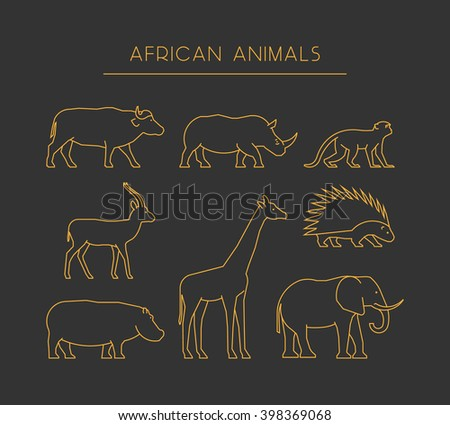 Line set of african animals. Gold linear silhouettes african animals isolated on a black background. Outline icons african animals. - stock photo