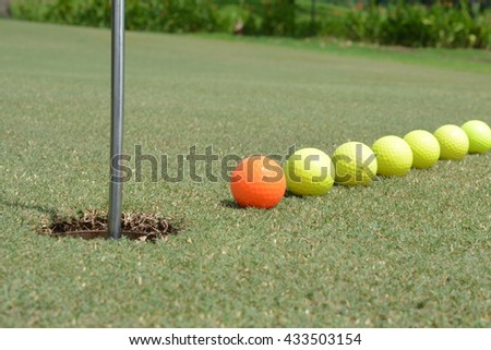 Line, Seven Yellow, Orange Golf Balls, Hole, Unique, Against, Leaders, Competition, Bright