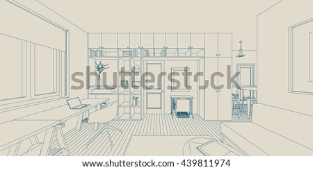 Line sketch of the interior living room. Raster version 3D - stock photo