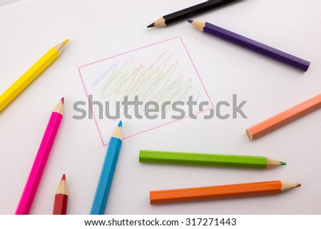 Line square with color pencils