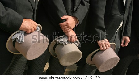 Line up of the Top Hats at UK wedding