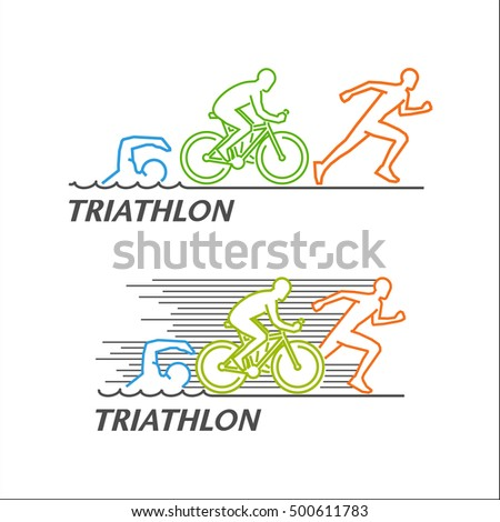 Line vector logo for triathlon. Stylish symbol for triathlon on white background.