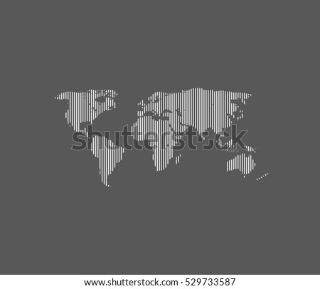 line white world map with grey background