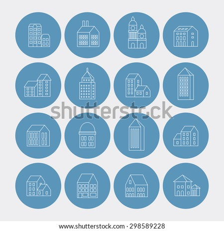 linear building urban style in the form of icons - stock photo