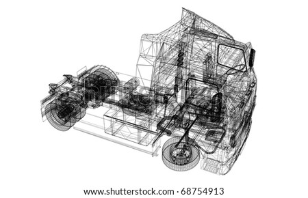 linear 3d model of truck isolated on white background - stock photo