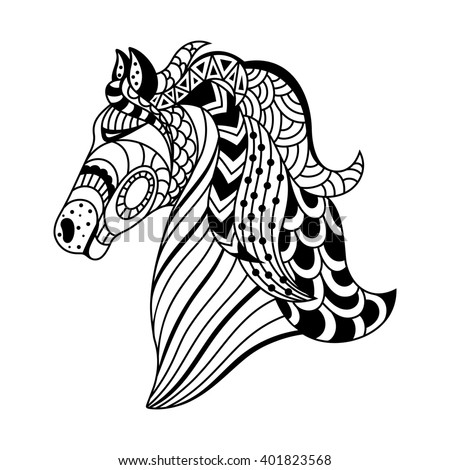 linear decorative horse. Doodles art, zentangle. A template for coloring - stock photo