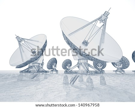 Linear image of satellite dishes on a white background. Can be associated with communication, data transfer or contemporary technology. - stock photo