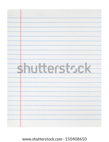 lined notebook paper texture with left margin - stock photo