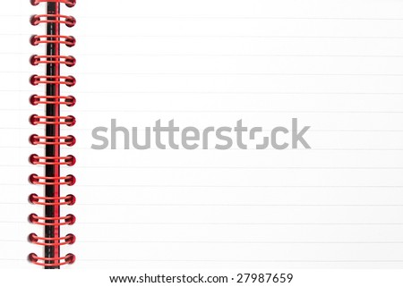Lined notepad with red binding
