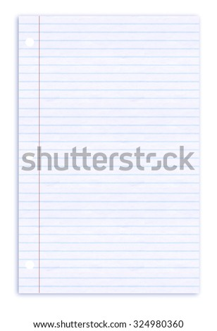 Lined paper notepad on white background