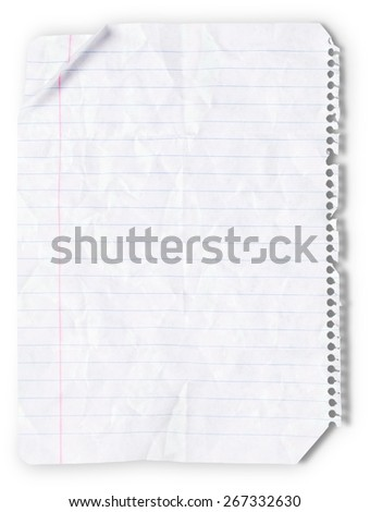 Lined Paper, Paper, Wrinkled. - stock photo