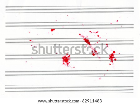 lined sheet music books with red blots - stock photo