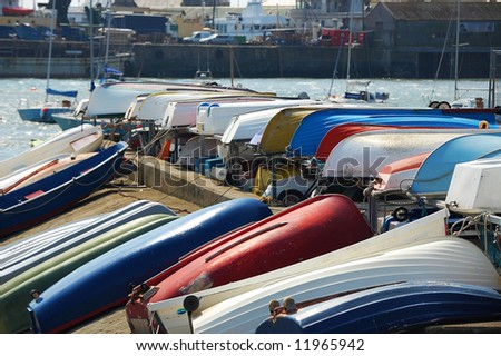 lined up boats