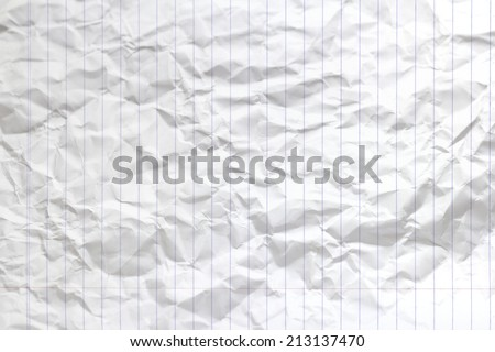 lined white crumpled paper background texture - stock photo