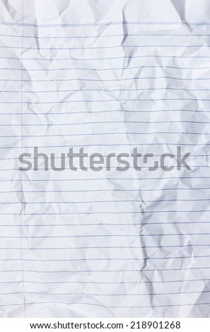 lined white crumpled paper texture - stock photo