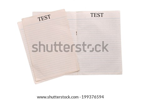 Lined white paper on white backgroung - stock photo