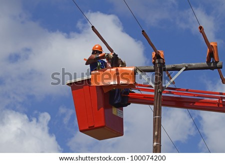Linemen working on powerline