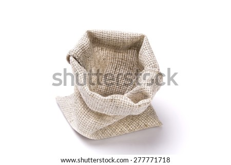 linen bag the empty open is made on a white background - stock photo