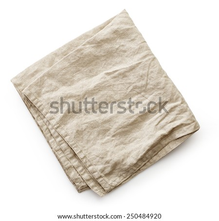 linen napkin isolated on a white background, top view - stock photo
