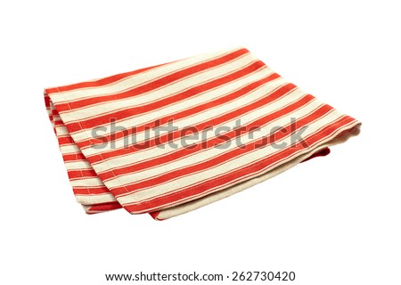 Linen serviette. Stack of colorful dish towels isolated on white - stock photo