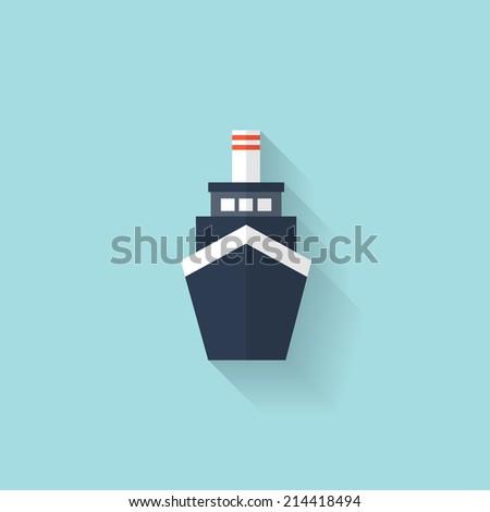 Liner ship flat web icon - stock photo