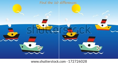 liners - find the 10 differences - stock photo