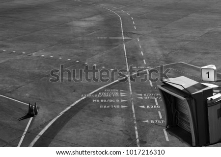Lines and signs at airfield