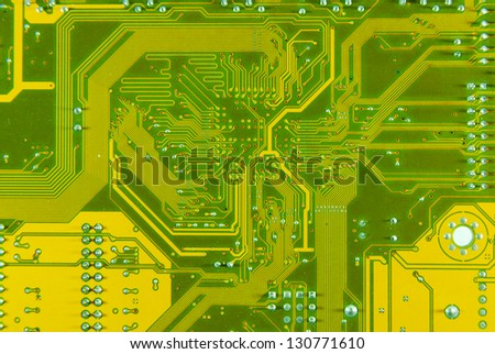 Lines and solder joints of the circuit board - stock photo