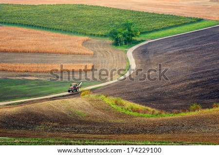 Lines and waves in the detail look over Moravian fields. - stock photo