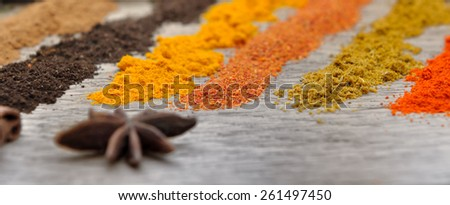 lines of different spice powders and anise - stock photo