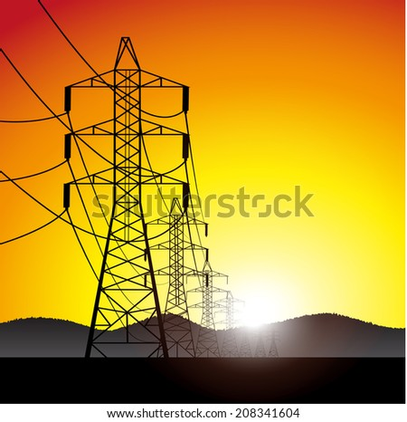 lines of electricity transfers an evening landscape - stock photo