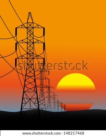 lines of electro transfers an evening landscape in a vector - stock photo