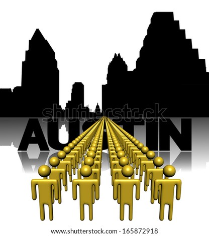 Lines of people with Austin skyline illustration - stock photo
