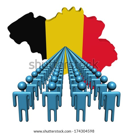 Lines of people with Belgium map flag illustration - stock photo