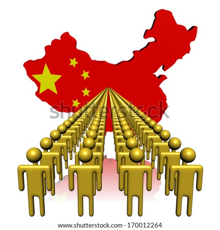 Lines of people with China map flag illustration - stock photo