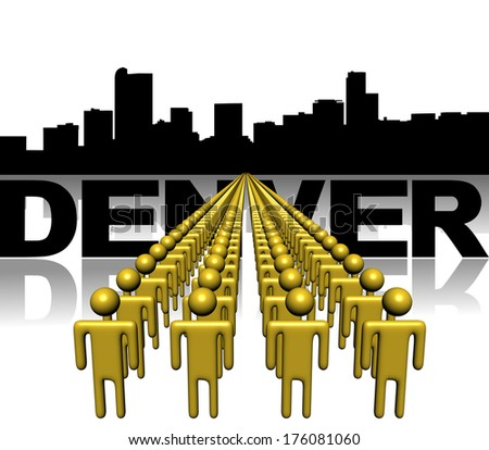 Lines of people with Denver skyline illustration - stock photo