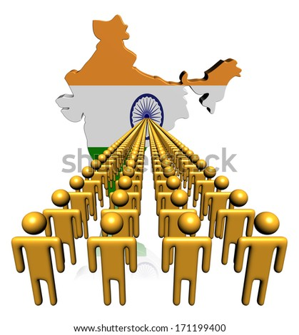 Lines of people with India map flag illustration - stock photo