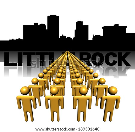 Lines of people with Little Rock skyline illustration - stock photo