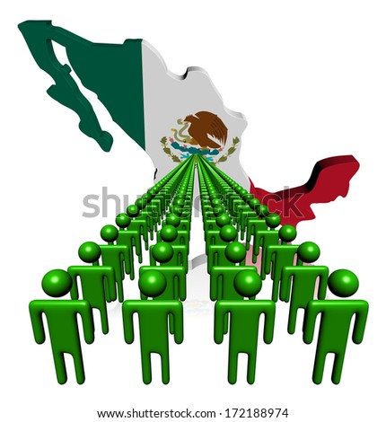 Lines of people with Mexico map flag illustration - stock photo